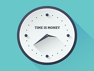 White clock on a blue background with the caption 'Time is Money.'