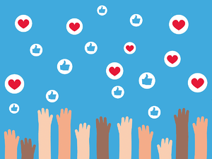 Hands in the air cheering with social media 'like' and heart symbols.