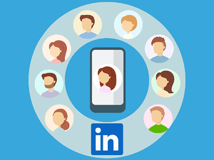 faces around smartphone and LinkedIn logo