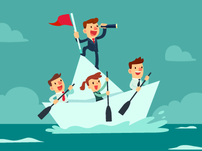 team sailing in boat with leader