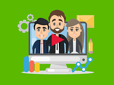 three business people coming out of video screen