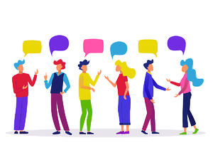 group of colourful people with speech bubbles