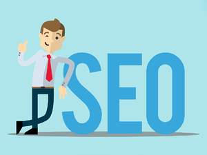 Man standing next to SEO sign with thumb up