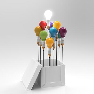 Lightbulbs Turning Into Pencils Outside a Box