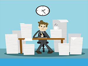 Stock_Cartoon_Stressed_Recruiter_Paperwork