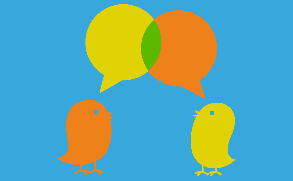 Twitter birds talking with speech bubbles