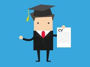 Graduate candidate holding CV - (recruiting graduates)