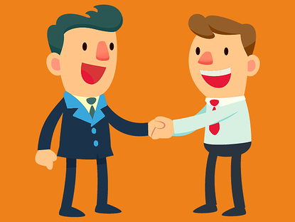 Client and recruiter shaking hands