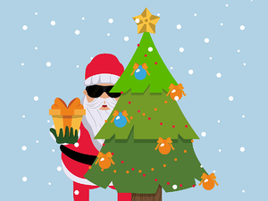 Santa wearing sun glasses hiding sneakily offering a present from behind a tree