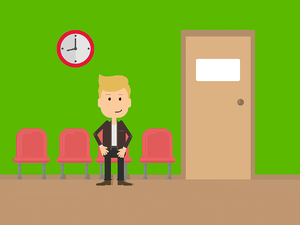 Candidate sitting in an empty waiting room