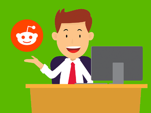 a recruiter sourcing candidates on Reddit looking happy