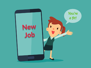 """A recruiter advertising a 'new job' on giant phone and saying """"You're a fit""""."""