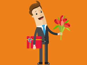 A recruiter holding out flowers and chocolates for a client.