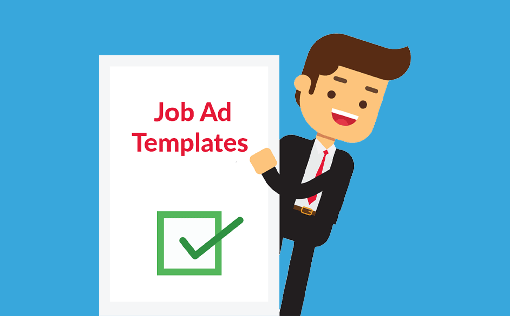 Happy recruiter holding a job ad template