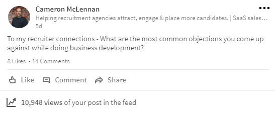 Image of Cammy McLennan's LinkedIn update on business development in recruitment.