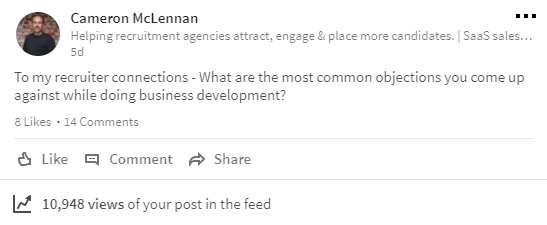 Image of Cammy McLennan's LinkedIn update on business development in recruitment.