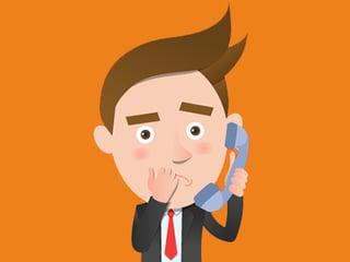 man blushing on the phone
