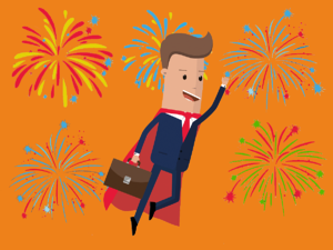 Recruiter wearing a superhero cape with Fireworks behind them.