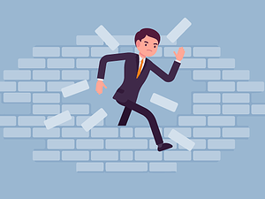 Recruiter breaking through brick wall