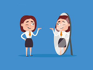 A recruiter showing their personality in the mirror