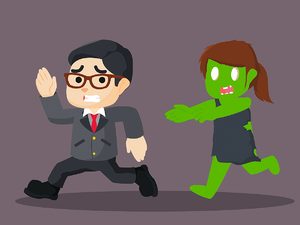 recruiter running away from zombie candidate