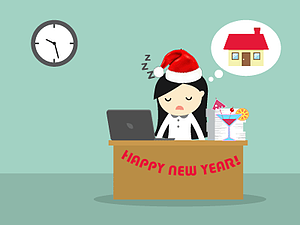 girl asleep at office desk at new year